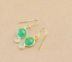 Green Aventurine,Aqua Chalcedony Gemstone Silver Earring