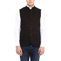 Casual Wear Black Mens Cotton Waistcoat, Size: M-XXL