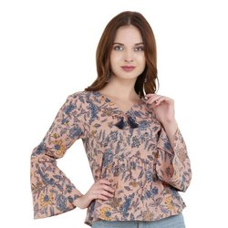 Rayon V-Neck Full Sleeve Printed Ladies Top, Packaging Type: Packet