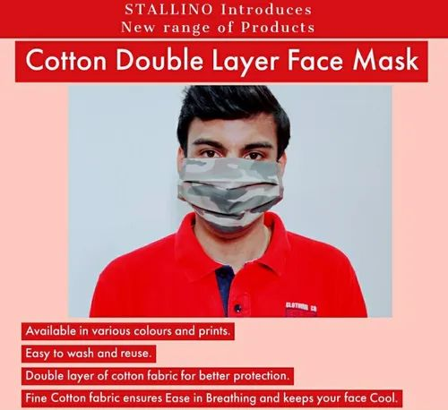STALLINO Reusable Cotton Double Layer Face Mask, Number of Layers: 2