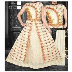 Cotton Party Wear Ladies Long One Piece Dress, Size: L, Xl & Xxl