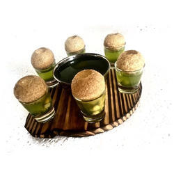 Pine Wood Round Snacks Service Dish w Shot Glass & Bowl