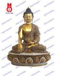 Lord Buddha Sitting Highly Carved W/ Glass Work Statues