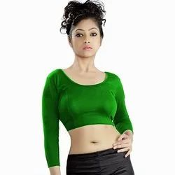 Abhi Stretchable Blended Fabric Plain Blouse with Net Three Quarter Sleeves