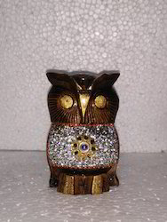 Wooden Owl With Chamki Work