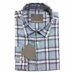 Collar Neck Casual Wear Mens Casual Checked Linen Shirt, Machine wash