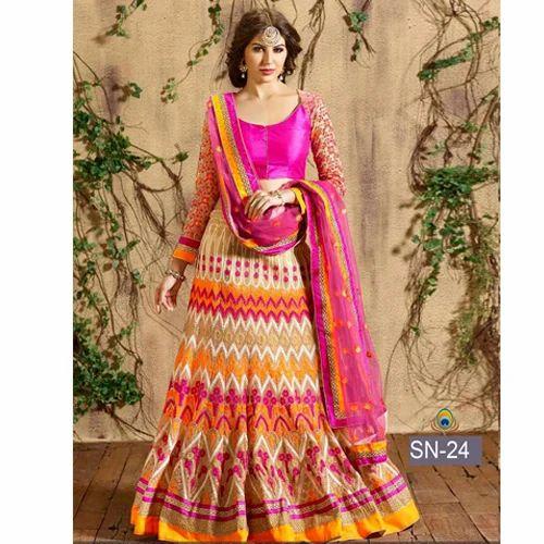 e5e19c6980 Multi Colored Banglori Silk & Net Embroidered Lehenga Choli at Rs ...