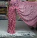 Lucknawi Chikan Pink Saree