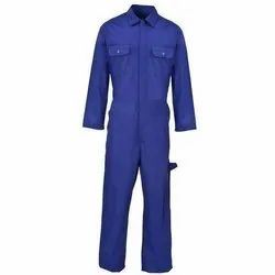 Full Sleeves Blue Plain Cotton Industrial Uniform