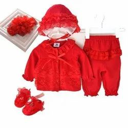 Red Kid Girl Party Wear Dress Set, Size: S-XL, Age: 0-5 Years