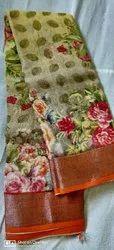 Impressive Artisan Printed Ladies Heavy Crepe Digital Silk Saree, 6.5 Meter