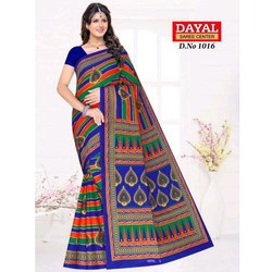 Cotton Ladies Saree, Machine Made, Length: 5.5 m with Blouse Piece
