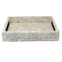 Rawsome Shack White Mother Of Pearl Rectangular Tray