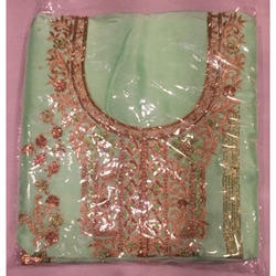 Party Wear Ladies Green Unstitched Embroidered Suit