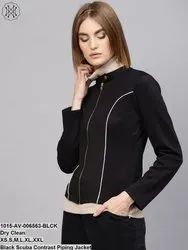 Black Scuba Contrast Piping Jacket