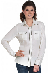 Women Full Sleeve White Crepe Shirt, Size: Small