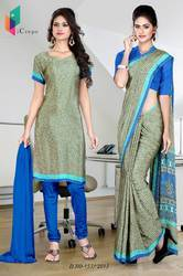 Grey and Blue Italian Crepe Uniform Saree Kurti Combo