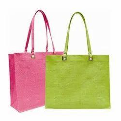 Green & Pink Plain Stylish Jute Hand Bag