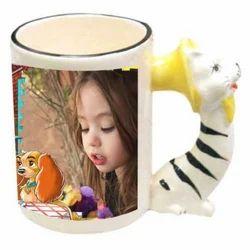 White Animal Handle Mug for Home