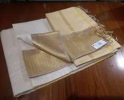 Light Pastel Shade Maheshwari Saree, 6.3 M (with Blouse Piece)