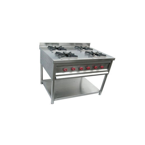 Stainless Steel Silver Commercial 4 Burner Gas Range