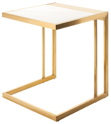White Quartz Steel Table, Height: 3 feet