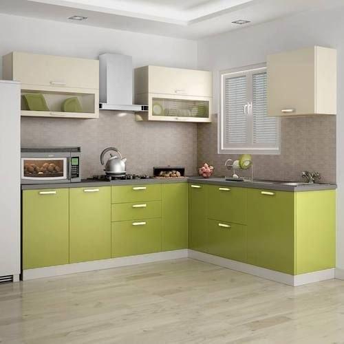 Modular Kitchen In Green Colour