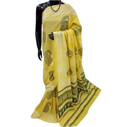Yellow Ladies Block Print Saree