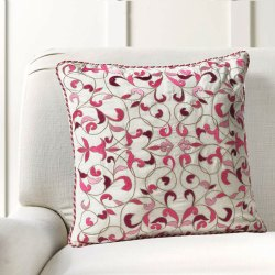 16 X 16 Inch Candy Pink Bel Embroidery Cushion Cover