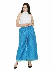 Cotton Chikan Embroidery Palazzo Pants for Woman