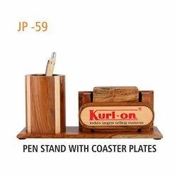 Wooden JP 59 Desktop Holder With Coaster Plate, For Promotional Gifts
