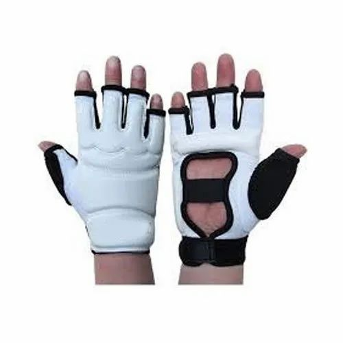 White And Black Leather and Foam Half Finger Boxing Gloves, Packaging Type: Packet