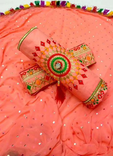 Cotton Gajri Color Casual Wear Embroidered Salwar Suit