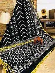 Bagru Hand Block Printed Black & White Pom Pom Lace Cotton Mulmul Saree
