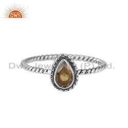 Citrine Gemstone Womens Oxidized 925 Silver Rings Jewelry