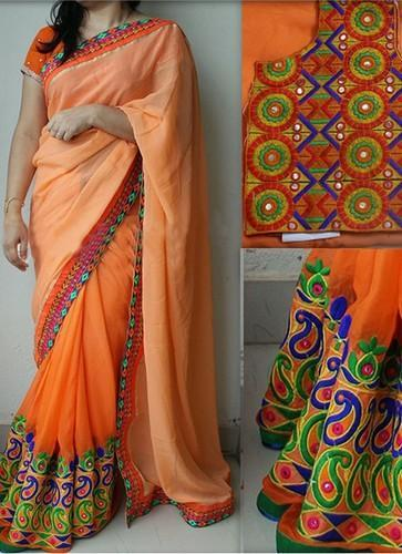 8e7d1371bf6d44 Party wear New Orange Georgette Thread & Mirror Work Saree With Blouse