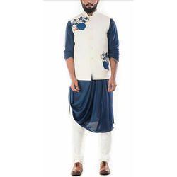 Blue and White Kurta Emroidered Waistcoat Jacket