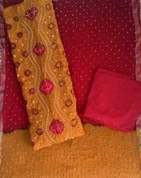 Unstitched Panel Bandhani Work Suit