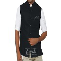 Men's Black Sleeveless Nehru Jacket - Ethnic Wear