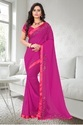 Georgette Designer Stone Work Pink Color Saree