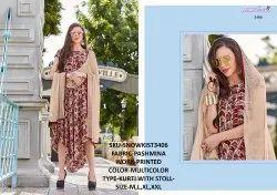 Rachna Twill Silk Pattern Cut Kurti With Stole Catalog Kurti For Women 6