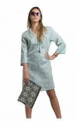 Long Cotton Printed Beach Tunic