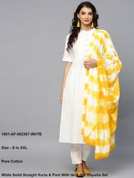 Straight Kurta & Pant With Tie & Dye Dupatta Set
