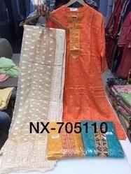 Cotton Kota Embroidery Dupatta Suit