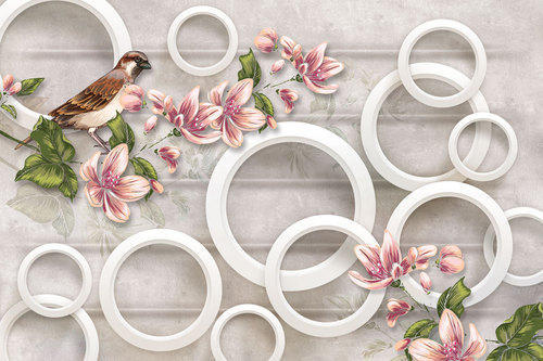 Walls And Murals Vertical 3D Floral Wallpaper For Walls With Sparrow, Size: As Per