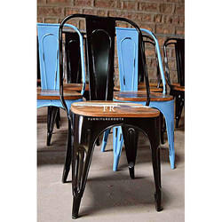 Restaurant Furniture Chair - Tolix Chair Reclaimed Wood Seat - for Bars, Cafes & Restaurant Dining