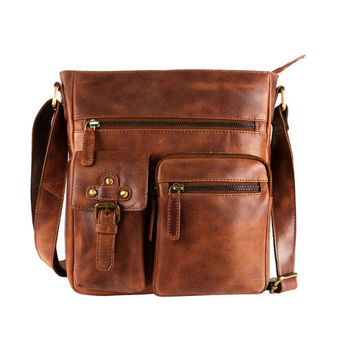 Modish Leather Sling Bag Tan