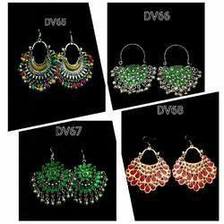 Afghan Colored Glass Jewellery Earrings