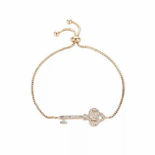fe64b35114812 Keyline Gold Plated Key Pattern Unique Adjustable Bracelet For Women Girl