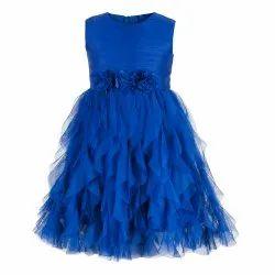 Kids Girls Blue Waterfall Dress, Age Group: 2-10 Years
